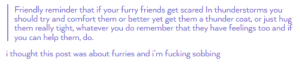 Friends, Fucking, and Help: Friendly reminder that if your furry friends get scared In thunderstorms you  should try and comfort them or better yet get them a thunder coat, or just hu  them really tight, whatever you do remember that they have feelings too and  you can help them, do  i thought this post was about furries and i'm fucking sobbing Protect your furry friends