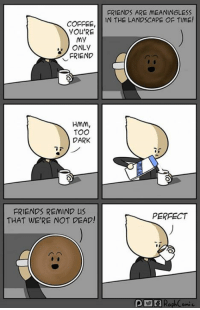 Dank, Friends, and Coffee: FRIENDS ARE MEANINGLESS  COFFEE, IN THE LANDSCAPE OF TIME!  YOU'RE  my  ONLY  FRIEND  HMM,  TOO  DARK  FRIENDS REMIND Us  THAT WE'RE NOT DEAD!  PERFECT The truth behind the dark and bitter coffee.  By RaphComic