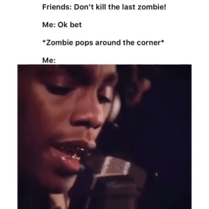 Friends, Funny, and Twitter: Friends: Don't kill the last zombie!  Me: Ok bet  *Zombie pops around the corner*  Me: Did this so many times 😂 👉🏽(via: cloutboyjojo-twitter)