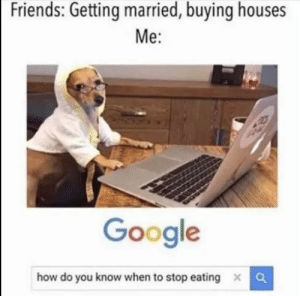 Friends, Google, and How: Friends: Getting married, buying houses  Me:  Google  how do you know when to stop eating  X