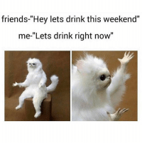 "Friday, Friends, and Funny: friends-""Hey lets drink this weekend""  me-""Lets drink right now"" It's Friday and who really does any work today anyway🤗 Via @that_basic_bitchhh"