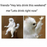 "Friends, Memes, and Shit: friends-""Hey lets drink this weekend""  me-""Lets drink right now"" Shit I'm down!! 🍺🍻🍺🍻 Follow @puro_jajaja"
