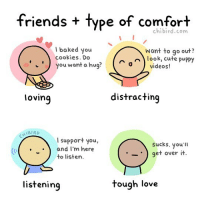 My friends have different styles of comforting… some work for me better than others, haha. 😆 . . . [Artist update: I'm slowly going through all the messages on my last post. I'm really so touched and motivated by everyone's kindness and support, and I feel happier, freer, and more motivated! Thank you all for years of sharing in my art, past and future to come!]: friends + type of comfort  chibird.com  baked you  cookies. Do  ' ) you want a hug  Want to go out?  ) look, cute puppy  0  videos!  lovinq  distracting  1BIRD  l support you,  sucks. you'l  get over it  .and I'm here  ·-·  to listern  listening  tough love My friends have different styles of comforting… some work for me better than others, haha. 😆 . . . [Artist update: I'm slowly going through all the messages on my last post. I'm really so touched and motivated by everyone's kindness and support, and I feel happier, freer, and more motivated! Thank you all for years of sharing in my art, past and future to come!]