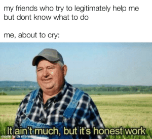 :,): friends who try to legitimately help me  my  but dont know what to do  me, about to cry:  It ain't  much, but it's honest work  made with mematic :,)
