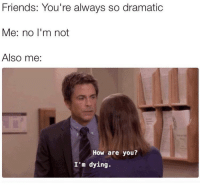 Friends, Memes, and 🤖: Friends: You're always so dramatic  e: no l'm not  Also me:  How are you?  I'm dying. I'm not being dramatic 😂