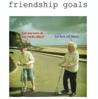 Fucking, Goals, and Lol: friendship goals  Can you even do  any tricks. Mary?  Lol fuck off, Mavis ADD my DaddyissuesLA snapchat rn!! Someday We'll be 80 year old women with saggy tits and dead husbands with the same dirty mind, an even dirtier mouth & an IDGAF attitude. It's going 2 be faacking AMAZING. 👯 squadgoals