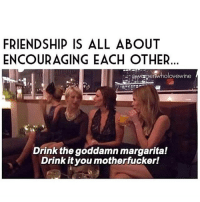 My friends are always encouraging 💅🏽🍹 - Rp @womenwholovewine 🍷💋: FRIENDSHIP IS ALL ABOUT  ENCOURAGING EACH OTHER  swarmerivholovewine  Drink the goddamn margarita!  Drink it you motherfucker! My friends are always encouraging 💅🏽🍹 - Rp @womenwholovewine 🍷💋