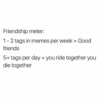 Memes, 🤖, and Meter: Friendship meter:  1 2 tags in memes per week Good  friends  5+ tags per day 3 you ride together you  die together The friendship meter 🙌 (@memes)
