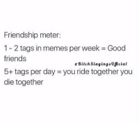 Memes, 🤖, and Meter: Friendship meter:  1-2 tags in memes per week Good  friends  Bitch slayings oficial  5+ tags per day you ride together you  die together