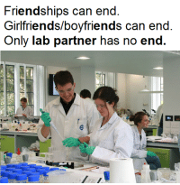 Lab Partner: Friendships can end  Girlfriends/boyfriends can end  Only lab partner has no end  li