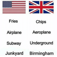 Subway, Airplane, and British: Fries  Chips  Aeroplane  Airplane  Subway Underground  Junkyard Birmingham Allow the brummies man🤣@mememanmyles absolutely cracks me up