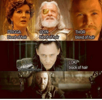 This'll always be funny 😂: FRIGGA  ODIN  blond of hair  blond of hair  THOR  blond of hair  LOKI  black of hair This'll always be funny 😂