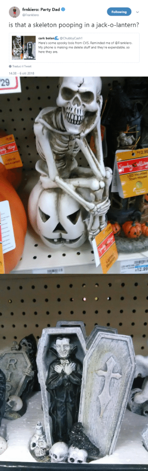 postmcrnews:x: frnkiero: Party Dad  Following  @Franklero  is that a skeleton pooping in a jack-o-lantern?  cark bolanC @ChubbyCash1  Here's some spooky bois from CVS. Reminded me of @Franklero  My phone is making me delete stuff and they're expendable, so  here they are.  Traduci il Tweet  4:38-6 ott 2018   29  町99  $12.99 postmcrnews:x
