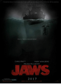 Who wants a Jaws Remake?: FRO  DIRECTOR DAVID FINCHER PRODUCER STEVENSPIELBERG  YOU LL NEED A BIGGER BOAT.  CHRIS PRATT  MARK WAHLBERG  MELISSA MCCARTHY  2017  created by  my movie art tomblr Who wants a Jaws Remake?