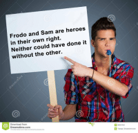 frodo: Frodo and Sam are heroes  in their own right.  Neither could have done it  without the other.  Download from  Dreamstime.com  This watermarked comp image is for previewing purposes only  D 3033742  Tijanap | Dreamstime.com