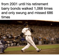 This is practically impossible: from 2001 until his retirement  barry bonds walked 1,068 times  and only swung and missed 686  times This is practically impossible