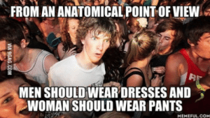 Com, Think, and Woman: FROM AN ANATOMICAL POINT OF VIEW  MEN SHOULD WEARDRESSES AND  WOMAN SHOULD WEAR PANTS  MEMEFUL COM When you think about it