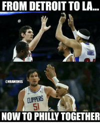 Tobias Harris and Boban Marjanović get traded (AGAIN) to Sixers in 6-player blockbuster trade: bit.ly/Tobias76ersTrade: FROM DETROIT TO LA  ONBAMEMES  CLIPPERS  NOW TO PHILLY TOGETHER Tobias Harris and Boban Marjanović get traded (AGAIN) to Sixers in 6-player blockbuster trade: bit.ly/Tobias76ersTrade