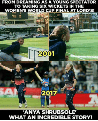 England, Memes, and World Cup: FROM DREAMING AS A YOUNG SPECTATOR  TO TAKING SIX WICKETS IN THE  WOMEN'S WORLD CUP FINAL AT LORD'S!  2001  ENGLAND  2017  ANYA SHRUBSOLE  WHAT AN INCREDIBLE STORY! What a fairy tale!