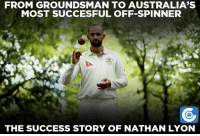 Memes, Australia, and Success: FROM GROUNDSMAN TO AUSTRALIA'S  MOST SUCCESFUL OFF-SPINNER  THE SUCCESS STORY OF NATHAN LYON Nathan Lyon - Australia's most successful off-spinner.