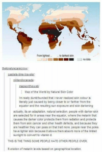 The sad truth.: From lightest to darkest skin  no data  the lonelyscarecrow  castiels-time-traveler:  nintendo canada:  mapsonthe web:  Map of the World by Natural Skin Color  I'm really dumbfounded that i never realized skin colour is  literally just caused by being closer to or farther from the  equator and the resulting sun exposure and skin darkening  actually, its an adaptation. natural selection. people with darker skin  are selected for in areas near the equator, where the melanin that  causes the darker color protects them from radiation and protects  them from skin cancer and other health defects, and because they  are healthier they can pass on that trait more. people near the poles  have lighter skin because it allows them absorb more of the limited  sunlight to convert to vitamin d.  THIS IS THE THING SOME PEOPLE HATE OTHER PEOPLE OVER.  Evolution of melanin levels based on geographical location. The sad truth.