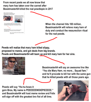 """I have Figured everything out once and for all: From recent posts we all now know that  mary ham has taken over the cannel after  Beastmaster64 killed the real pewdiepie in 2017  kay so hear me out guya  Bastmaster4 actually ied the  eal Pewdpe al the way back  in 2017  MayH aty  sowly nh e  martimnd a ie t on  This in why Bred and Brad 2 dot get pd, why hes  growng bored oft coent and ihe eason nd  hing werd hpeing on the Pee thame  When the channel hits 100 million,  Beastmaster64 will relieve mary ham of  duty and conduct the ressurection ritual  for the real pewds.  Th has all en dg up to the mof be  May Hem ereflly string the Pedp  New I must destroy the eidence before  tos ate  Pewds will realize that mary ham killed slippy,  proposed to marzia, and got deals from big brands.  Pewds and Beastmaster64 will team up and kill mary ham for her sins.  Beastmaster64 will say an awesome line like  """"You die Mary Ham, no more... Squad fam.""""  and he'll procede to kill her with the same gun  that he killed pewds with all those years ago.  guys but it's over m Mary ham and I'm  just canceling all the shows  Pewds will say """"Ha-ha-hows it  goin Bros, My name is PEEEEEEWDIEPIEEEEE.""""  and Beastmater64 will host meme review and Felix  will sign off with the greatest bro fist of all time. I have Figured everything out once and for all"""