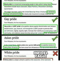 There is nothing wrong with liking the race or skin color you were born with. If you like being black, thats great! If you like being white, thats great too! Stop the overuse of the word racist. . . . . Conservative America SupportOurTroops American Gun Constitution Politics TrumpTrain President Jobs Capitalism Military MikePence TeaParty Republican Mattis TrumpPence Guns AmericaFirst USA Political DonaldTrump Freedom Liberty Veteran Patriot Prolife Government PresidentTrump Partners @conservative_panda @reasonoveremotion @conservative.american @too_savage_for_democrats -------------------- Contact me ●Email- RaisedRightAlwaysRight@gmail.com ●KIK- @Raised_Right_ ●Send me letters! Raised Right, 5753 Hwy 85 North, 2486 Crestview, Fl 32536: From Wikipedia, the free encyclopedia  Black pride is a movement encouraging people to take pride in being black. Related  movements include black nationalism, Black Panthers, Afrocentrism and Black  supremacism  The slogan has been used in the United States by African Americans to celebrate  heritage and porsonal pride. o black pride movement is closely linked with the  Gay pride  From Wikipedia, tho free encyclopodia  Gay pride or  LGBT pride is tho positivo stanco against discrimination and violonce  toward lesbian, gay, bisoxual, and transgender (LGBT poople to promote their  self affirmation, dignity. cquality rights, incroase thoirvisibility as a social group. build  community, and celebrate sexual diversity and gender variance. Pnde, as opposed to  Asian pride  From Wikipedia, the free  oncyclopedia  n the Unit  States, Asian pride (also spolcd AZN pride  is a positive stance to  being Asian American  The term arose from influences of h  nopCulture Winin Asian  From Wikipedia, the free encyclopodia  INFIDEL  X  White pride  EAGLE  White pride is a slogan primarily used by white separatist, white nationalist, There is nothing wrong with liking the race or skin color you were born with. If you like being black, thats great! If 
