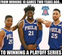 Trust the process! #Sixers Nation: FROM WINNING 10 GAMES TWO YEARS AGO  SEXER  NATION  PHILAPHILA  25  21  20  TO WINNING A PLAYOFF SERIES Trust the process! #Sixers Nation