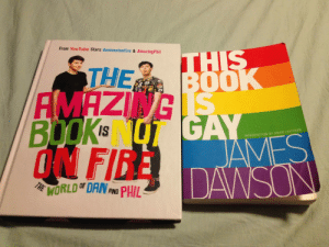 Fire, Target, and Tumblr: From YouTube Stars danisnotonfire & AmazingPhil  AMAZING  BOOK NOT GA  ON FIRE  IS  INTRODUCTION BY DAVID LEVITHAN  WORLDT DAN ND PHIL blueinkedwings:  Don't you hate it when you accidentally buy the same book twice