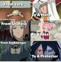 Memes, Zero, and Television: From zero  IGE yellow 7hokage  Fromm Useless  From An Avenger  To A Hero  To Badass  To A Protector like >> Television Vines