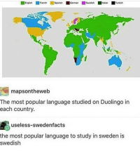 most popular: Fronch  Gorman  Turkish  mapsontheweb  The most popular language studied on Duolingo in  each country.  useless-swedenfacts  the most popular language to study in sweden is  swedish