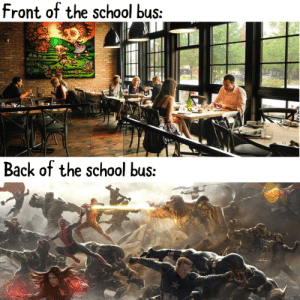 Memes, School, and Http: front of the school bus:  Back of the school bus: New locker room memes? via /r/memes http://bit.ly/2waV7e2