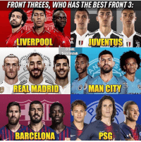 Barcelona, Memes, and Real Madrid: FRONT THREES, WHO HAS THE BEST FRONT 3  AL  ERPUOLJUVENTUS  LEC  Credit:  @Soccerclub  NE  REAL MADRID  MAN CITY  .111)  BARCELONA  PSG  111 タ Which team & why 😊 @soccerclub__