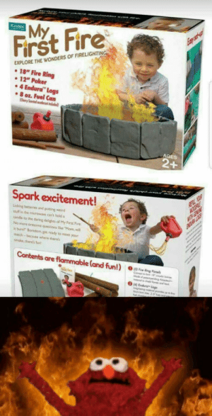 "The best gift for your kid, forget tie pods: Frst Fire  EXPLORE THE WONDERS OF FIRELIGHTIN  18"" Fire Ring  e 12"" Poker  4 Endura Logs  8 oz. Fuel Can  AGES  Spark excitement!  Licking batteres and putting werd  soull is the microware can't hold a  candle to the daring delights of My First Fire  No more tiresome questions like ""Mom will  it bare"" Boredom,get ready to meet your  atch-becaute where there's  smoke there's fun  Contents are flammable (and  O 15) Five Ring Ponels  2 14 Endlura-logs The best gift for your kid, forget tie pods"