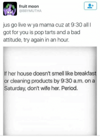 Bad Attitude: fruit moon  @BBYMUTHA  jus go live w ya mama cuz at 9:30 all I  got for you is pop tarts and a bad  attitude, try again in an hour.  If her house doesn't smell like breakfast  or cleaning products by 9:30 a.m. on a  Saturday, don't wife her. Period.