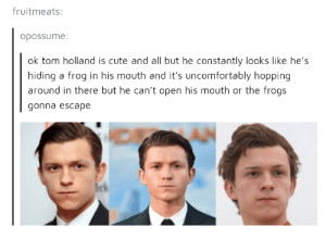 Does whatever a frog can: fruitmeats:  opossume:  ok tom holland is cute and all but he constantly looks like he's  hiding a frog in his mouth and it's uncomfortably hopping  around in there but he can't open his mouth or the frogs  gonna escape Does whatever a frog can