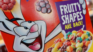 People didn't like Trix cereal without the artificial colors and ...: FRUITY  SHAPES  ARE BACK! People didn't like Trix cereal without the artificial colors and ...