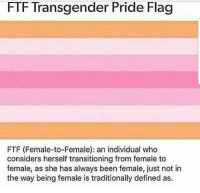 Shit, Transgender, and Been: FTF Transgender Pride Flag  FTF (Female-to-Female): an individual who  considers herself transitioning from female to  female, as she has always been female, just not in  the way being female is traditionally defined as. <p>I feel certain that actual trans people are completely done with this shit.</p>