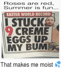 Easter, Memes, and Record: FTOSes are red,  Sumnr mer is fun..  EASTER WORLD RECORD  I STUCK  CREME  EGGS UP  MY BUM  That makes me moist Easter Eggs make me Moist 💦💦