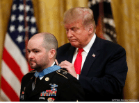 Donald Trump, Memes, and Afghanistan: FU  (AP/Pablo Martinez Monsivais) President Donald Trump on Monday awarded the Medal of Honor to former Staff Sgt. Ronald J. Shurer II, a @usarmy medic and Green Beret who used his body to shield injured troops while helping them to safety amid an enemy attack in Afghanistan in 2008.