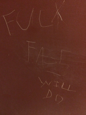 """queergraffiti:  c-bassmeow:How I react to homophobia: with facts""""fuck fags""""""""will do""""found at a restaurant in Old Saybrook, Connecticut, USA: FUCA  FAST  WILL  DO queergraffiti:  c-bassmeow:How I react to homophobia: with facts""""fuck fags""""""""will do""""found at a restaurant in Old Saybrook, Connecticut, USA"""