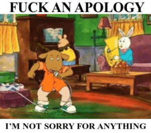 Sorry, Fuck, and Apology: FUCK AN APOLOGY  I'M NOT SORRY FOR ANYTHING