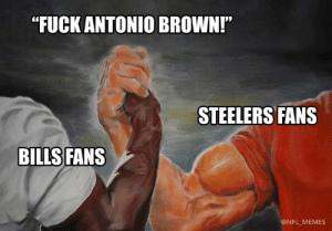 "Memes, Nfl, and Fuck: ""FUCK ANTONIO BROWN!""  STEELERS FANS  BILLS FANS  @NFL MEMES (Credit: Michael Thrasher)"