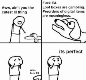 Let the hatred towards EA continue to blaze and spread, but let us not forget that these business practices arent EA exclusive.: Fuck EA.  Aww, ain't you the Loot boxes are gambling.  cutest lil thing  Preorders of digital items  are meaningless.  its perfect  Also  fuck EA Let the hatred towards EA continue to blaze and spread, but let us not forget that these business practices arent EA exclusive.