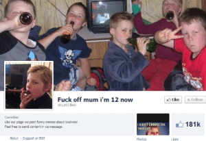Funny Memes About: Fuck off mum i'm 12 now  3 Like  a Follow  181,002 likes  Comedian  Like our page we post funny memes about twelvies!  Feel free to send content in via message.  181k  I DIDN'T CHOOSE THE  THUG LIFE  About - Suggest an Edit  Photos  Likes