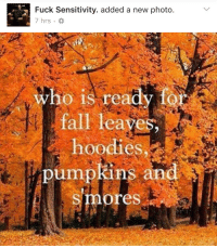 Damn, 'Fuck Sensitivity' is getting REALLY edgy.: Fuck Sensitivity. added a new photo.  7 hrs.  who is ready f  fall leaves  hoodies.  pumpkins an  Smores Damn, 'Fuck Sensitivity' is getting REALLY edgy.