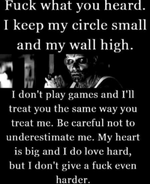 I Dont Give a Fuck, Love, and Fuck: Fuck what you heard.  I keep my circle small  and my wall high.  I don't play games and I'll  treat you the same way you  treat me. Be careful not to  underestimate me. My heart  is big and I do love hard,  but I don't give a fuck even  harder. Don't misunderestimate me.