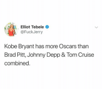 Brad Pitt, Johnny Depp, and Kobe Bryant: @FuckJerry  Kobe Bryant has more Oscars than  Brad Pitt, Johnny Depp & Tom Cruise  combined. Goodmorning