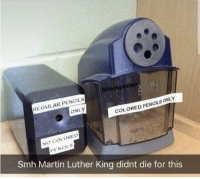 Martin, Smh, and Martin Luther: @fuckpaxton  REGULAR PENCILS  ONLY  COLORED PENCILS ONLY  NO COLORED  PENCILS  Smh Martin Luther King didnt die for this Pencil Discrimination