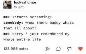 Relatable: fuckyahumor  isnt  me starts screaming*  somebody: whoa there buddy whats  that all about?  me: sorry i just remembered my  whole entire life  123.986 notes Relatable